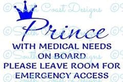 Prince On Board With Medical Needs