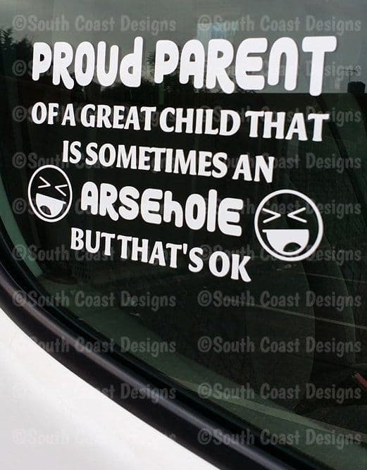 Proud Parent Of A Great Child That's Sometimes An ARSEHOLE or ASSHOLE Sticker - Decal