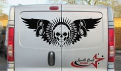 Skull With Wings & Headphones -  TVP Back Doors Decal Sticker