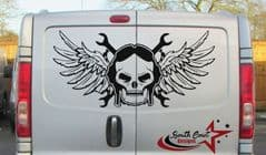 Skull With Wings & Spanners -  TVP Back Doors Decal Sticker