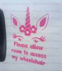 Unicorn With Flowers - Please allow room to access my wheelchair