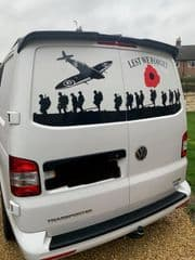 VW LARGE  PLANE - Rear Door - Lest We Forget - Transporter VW T2 T 3 T4 T5 (MADE FOR ANY MODEL)