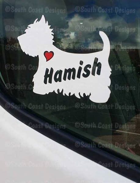 Westie - West Highland Terrier Sticker With Name & Heart - Can Be Stuck Anywhere