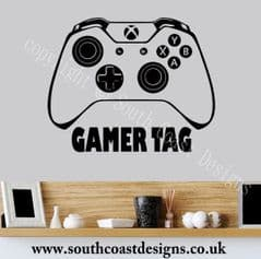XBOX ONE Controller Wall Sticker With Your Gamer Tag - Personalised - DESIGN 1