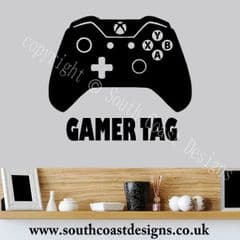 XBOX ONE Controller Wall Sticker With Your Gamer Tag - Personalised - DESIGN 2