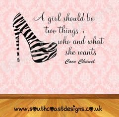 Zebra Shoe & Coco Chanel Quote - A Girl Should Be Two Things