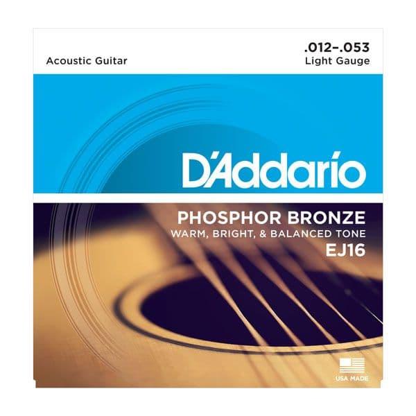 D'Addario EJ16 Phosphor Bronze Light Acoustic Guitar Strings<br>12-53