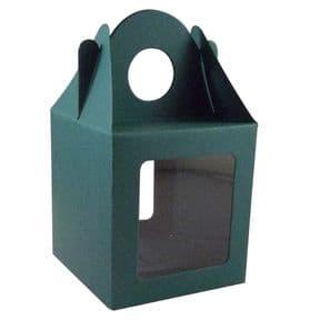 10 x Xmas Green Single Cupcake / Muffin / Fairy Cake Boxes With 2 Windows