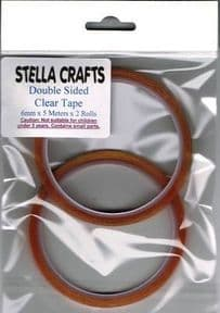 2 x Clear Double Sided Tape 6mm x 5mtr - SC146