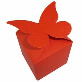 Xmas Red Large Butterfly Top Muffin / Cupcake Box 80mm x 80mm x 80mm