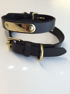 Bridle Leather Collar with Brass ID Plate 15mm