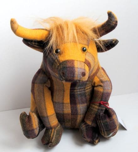 Dora Designs Plaid  Highland Cow