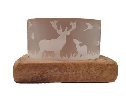 Frosted Glass Stag Tea-Light Holder