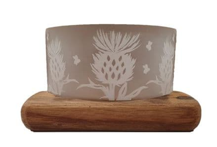Frosted Glass Thistle Tea-Light Holder