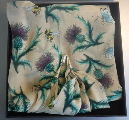 Ladycrow Chiffon Thistle Print Scarf with Magnetic Clasp - Cream