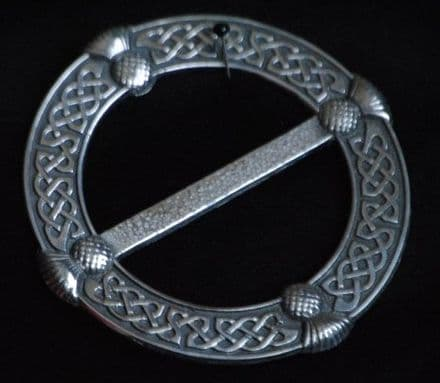 """Ladycrow Large Pewter Scarf Ring """"Celtic Knot with Thistles"""""""