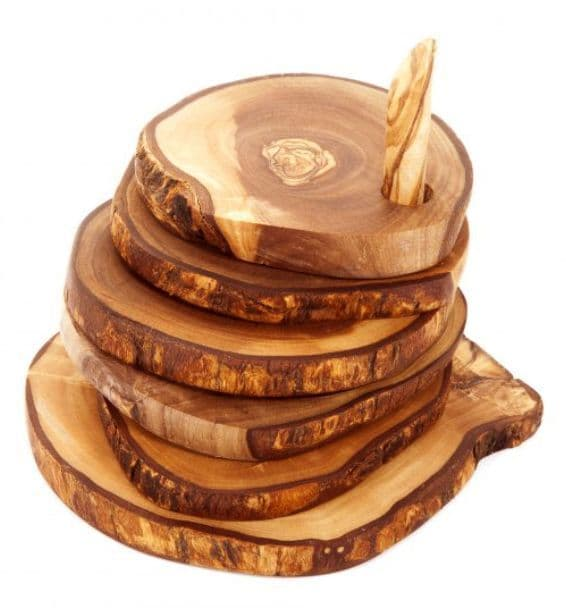 Olive Wood Rustic Coaster set on a spindle