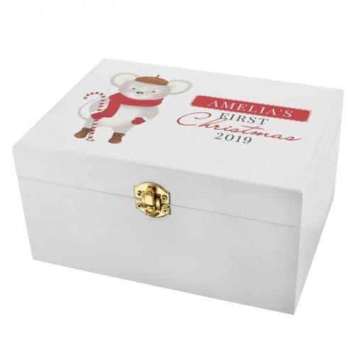 PERSONALISED '1ST CHRISTMAS' MOUSE WHITE WOODEN KEEPSAKE BOX