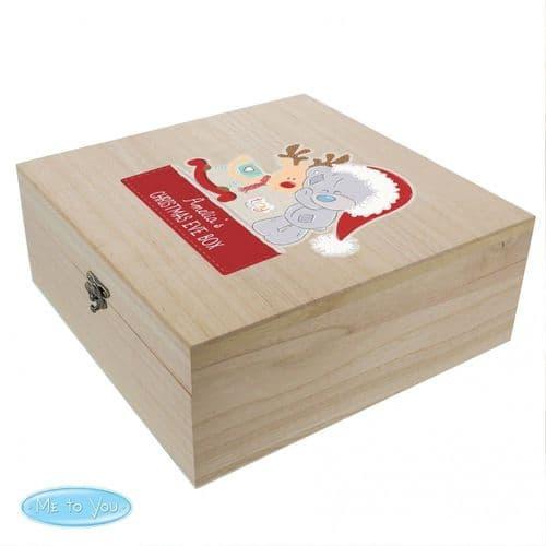 Personalised colourful Tiny Tatty Teddy large wooden xmas eve box
