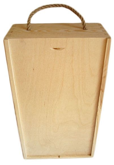 Pine Wood 2 Bottle Wine Box With Rope Handle