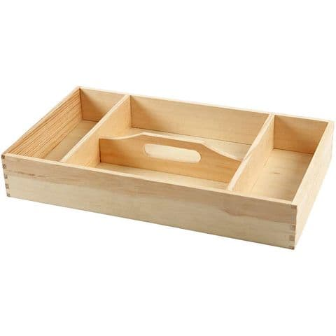 Pine Wood 4 Compartment Tray