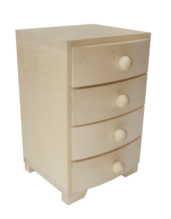 Pine Wood 4 Drawer Chest Of Drawers