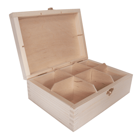 Pine Wood 6 Compartment Tea Box With Clasp