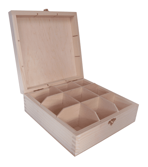 Pine Wood 9 Compartment Tea Box With Clasp