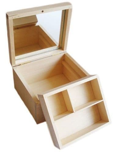 Pine wood jewellery box with removable compartment tray and mirror DD115