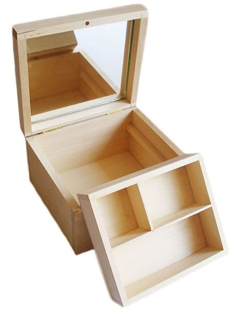 Pine Wood Jewllery Box With Removable Compartment Tray & Mirror