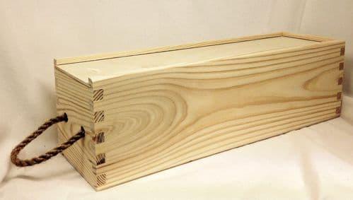 Pine Wood Single Wine Box With Sliding Lid