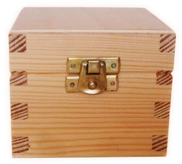 Pine Wood tea Box With Clasp 9.0 wide, 8.0 deep, 8.0 high