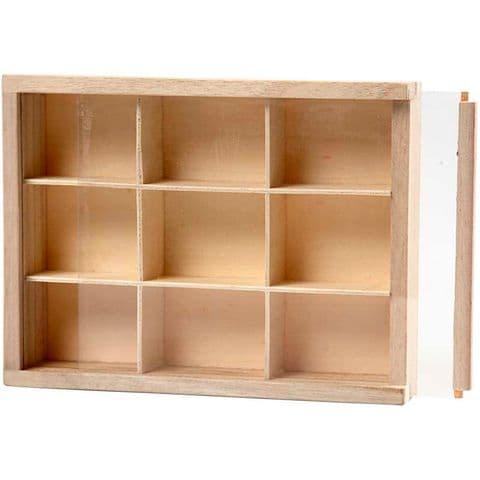 Small Display Box 9 Compartments Plexiglass Lid